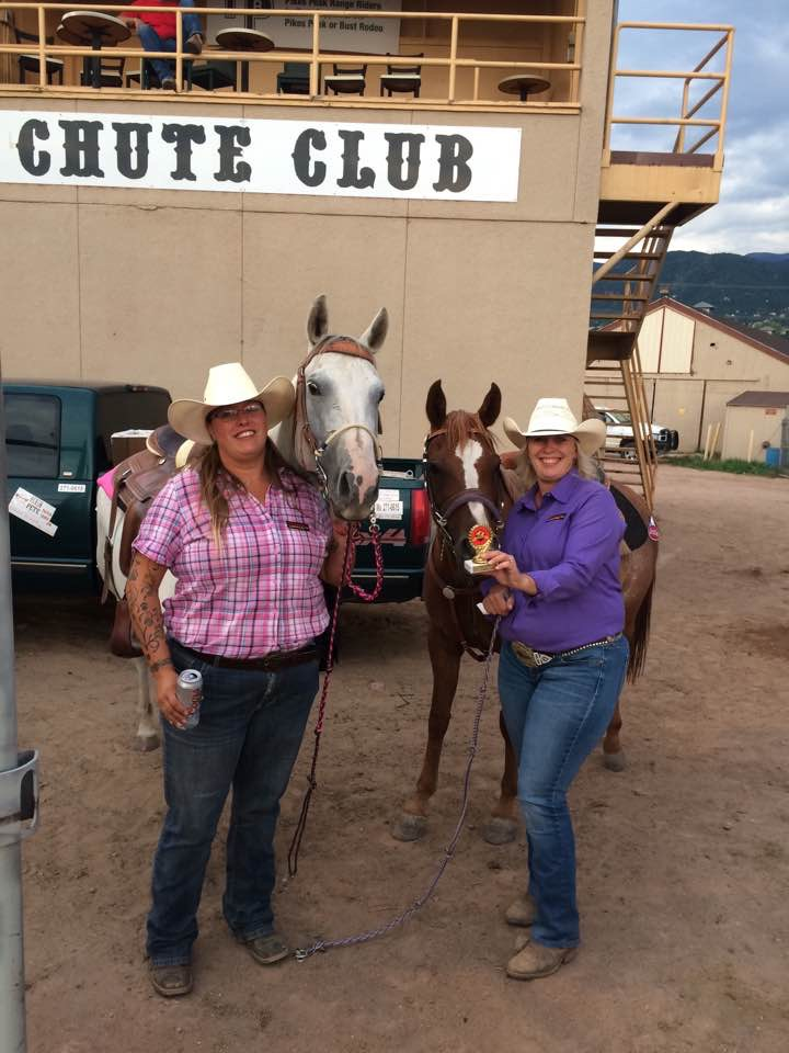 "We call these girls the ""Fountain Babes""  You will see them ride in our Barrel Racing!  Tami Sanchez and Febi Fetz"